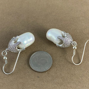 Gem Emporium Jewelry - Fresh Water Pearl & Pink Sapphire Silver Earrings